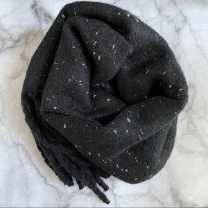 BP black speckled muffler scarf with fringe